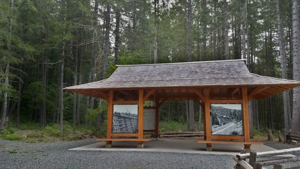 Kinsol Trestle on Vancouver Island, British Columbia Canada info booth