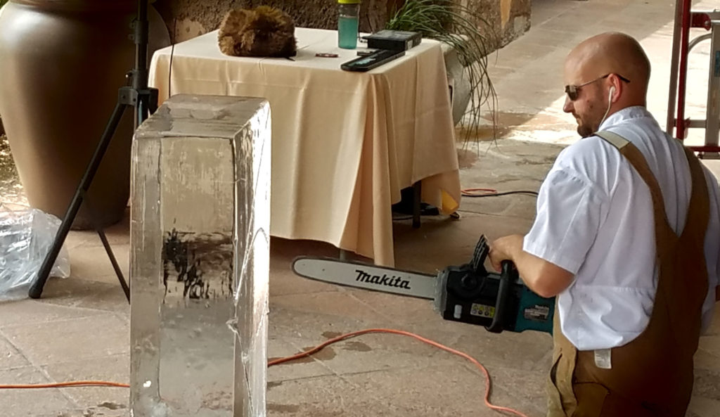 3 Safety Tips for Attending an Ice Sculpture Event Chef Josh Nylin with chainsaw