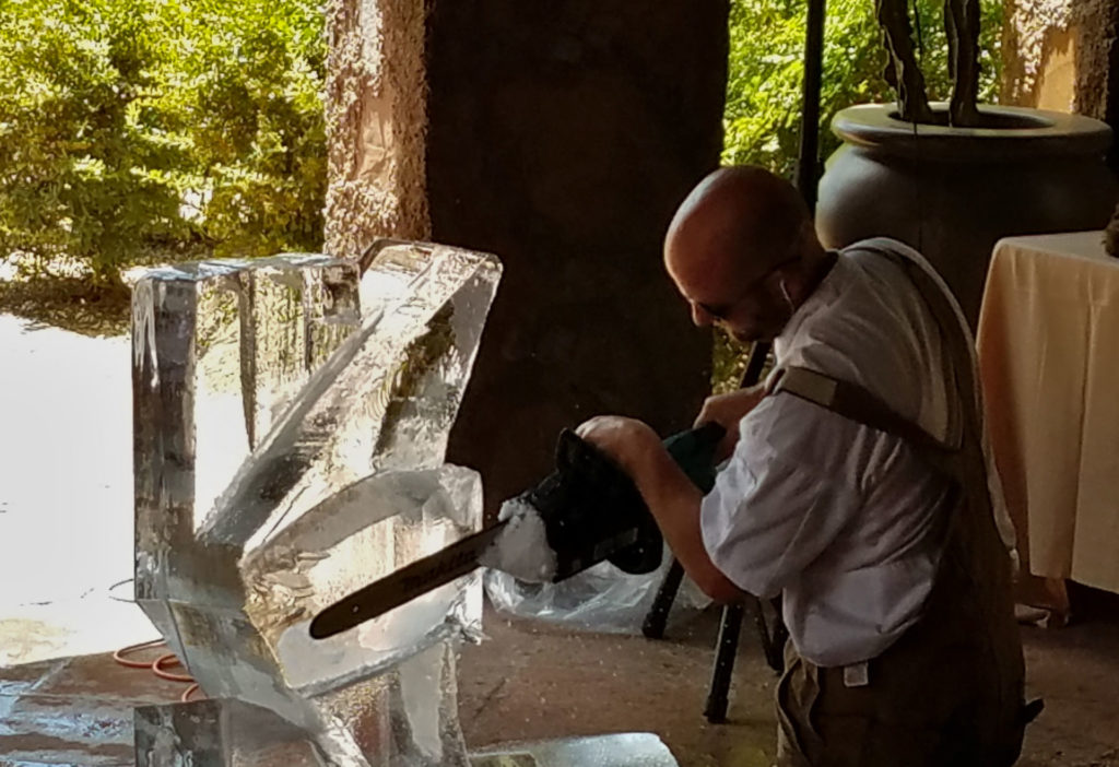 3 Safety Tips for Attending an Ice Sculpture Event Ice block partial cut