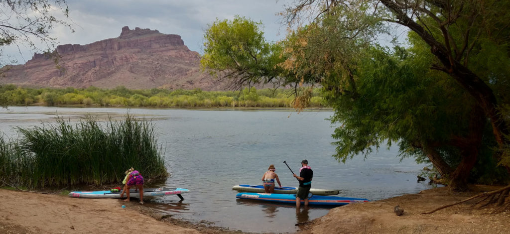 SUP Boarding the Salt River in Arizona Landscape and boards
