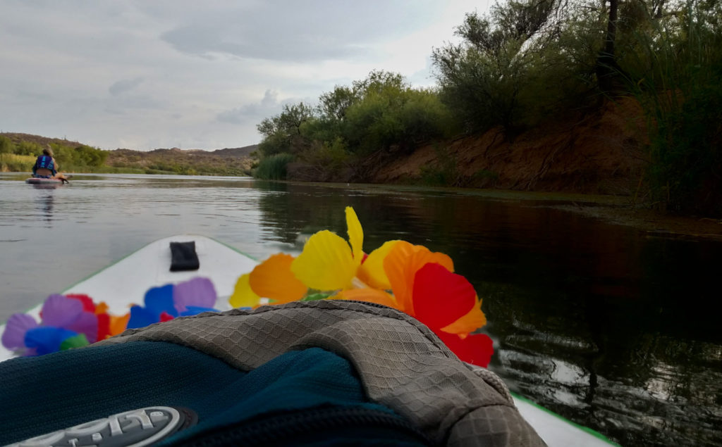 SUP Boarding the Salt River in Arizona Supplies on board