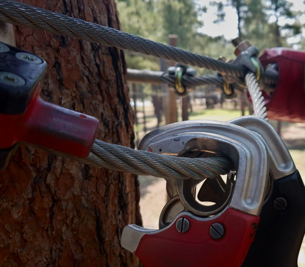 Learn about your Significant Other on a Tree Adventure Course Safety cable