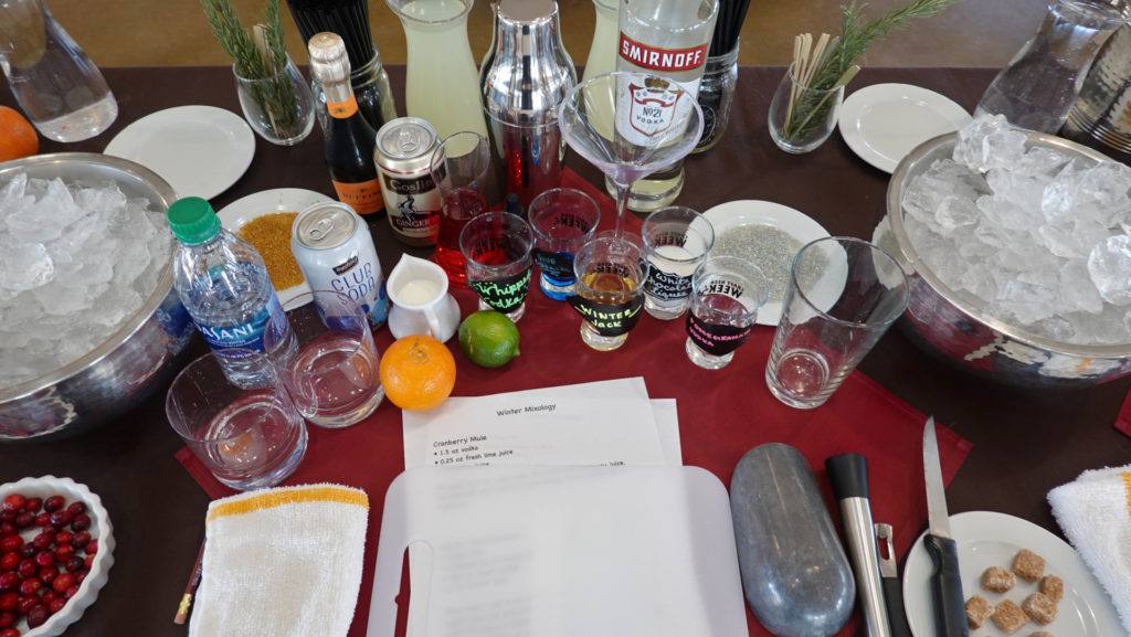 Table setting Interactive Holiday Mixology, forever sabbatical