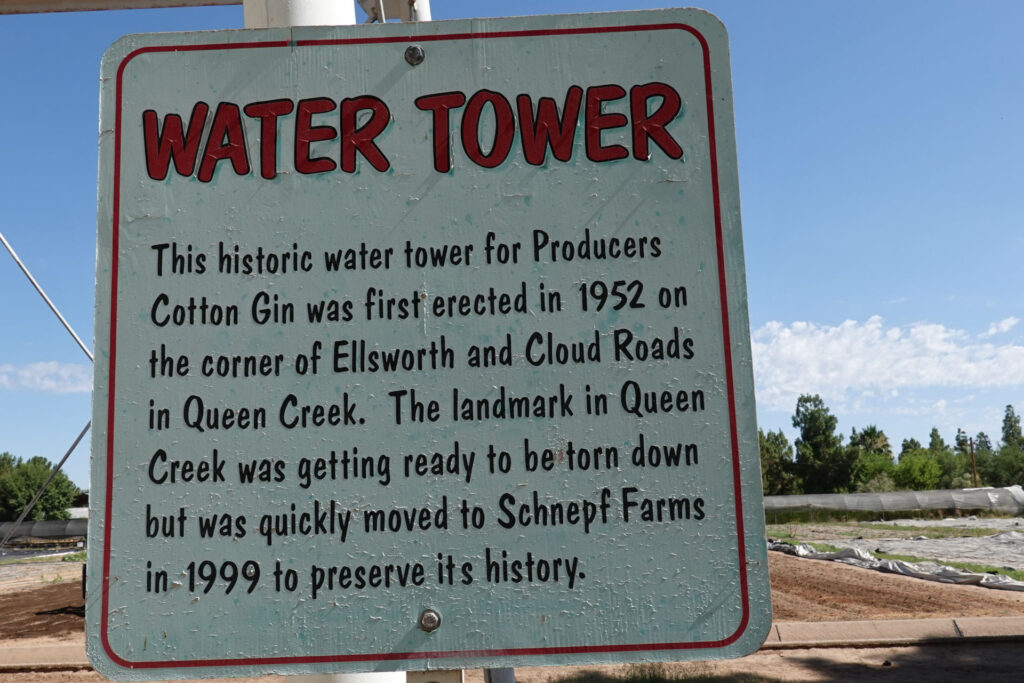 Schnepf_Farms_Water_Tower_Queen_Creek_Arizona_Forever_Sabbatical_Sign