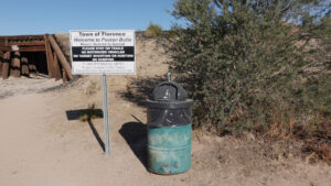 sign and trash can Poston Butte, Forever Sabbatical
